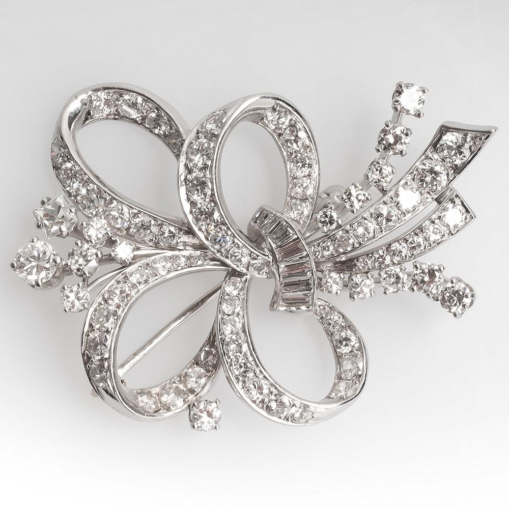 Beautiful 1950's Vintage Diamond Brooch Pin Platinum
