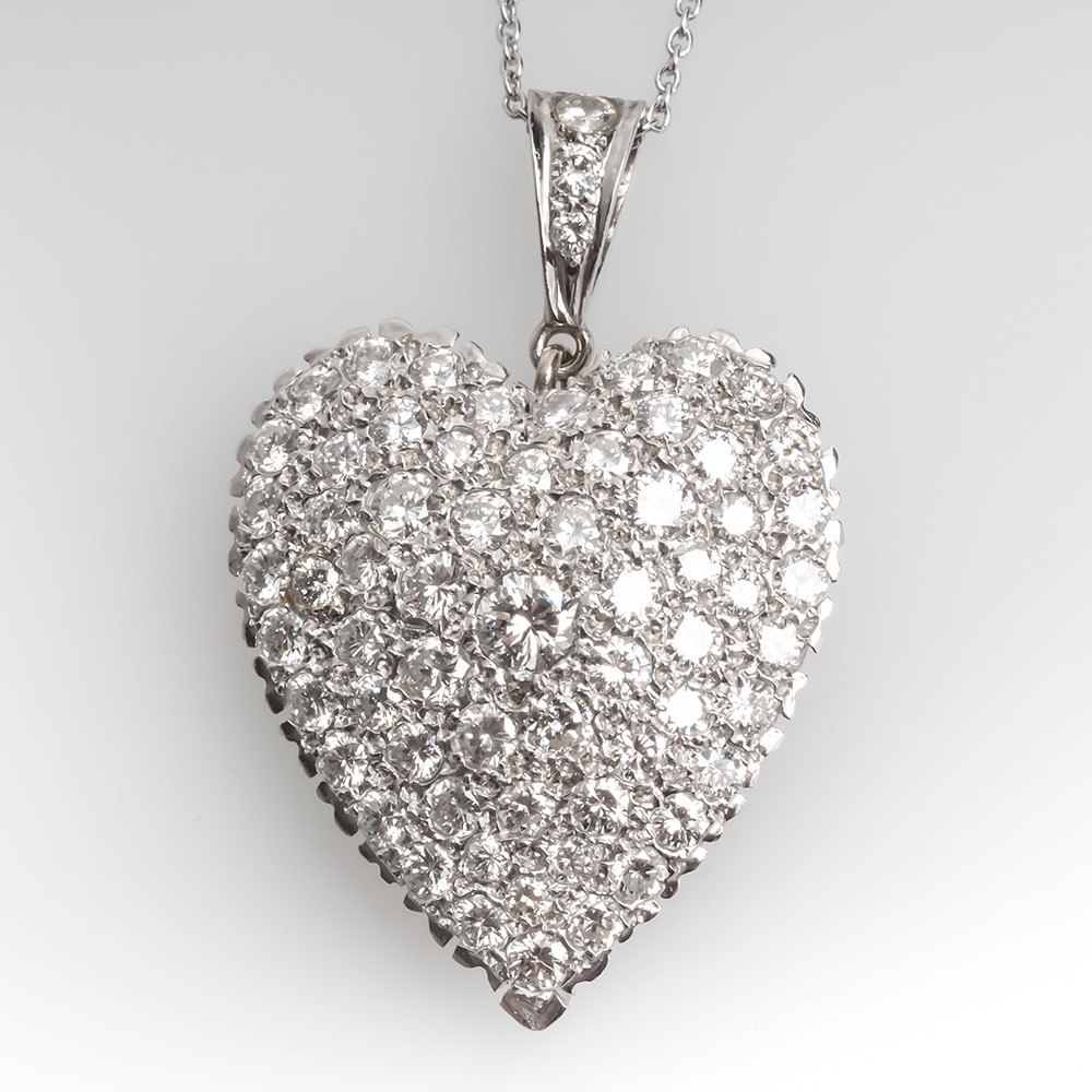 14K White Gold Pave Diamond Heart Pendant w/ Platinum Chain Necklace