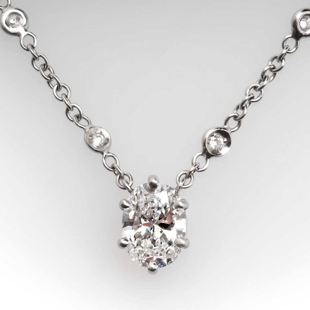 Diamond Station Necklace w/ Oval Cut Diamond Center 18K White Gold