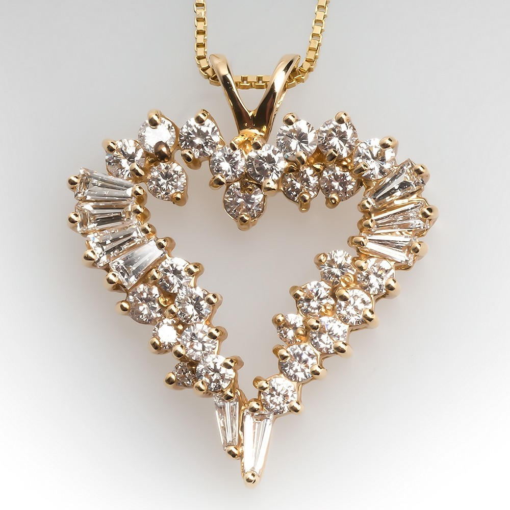 Diamond Heart Pendant Necklace 14K Yellow Gold