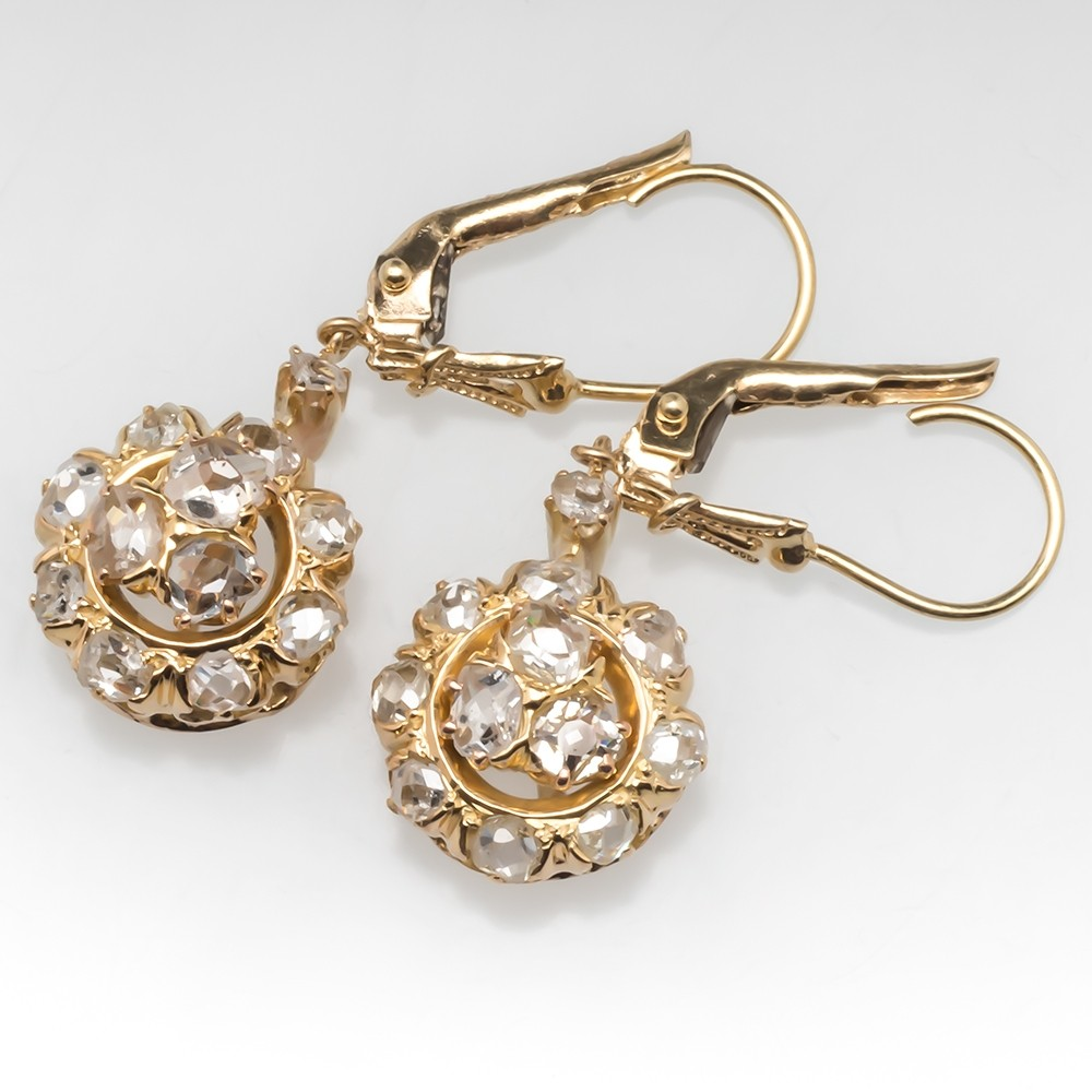 Antique Georgian Era Diamond Dangle Earrings 14K Gold
