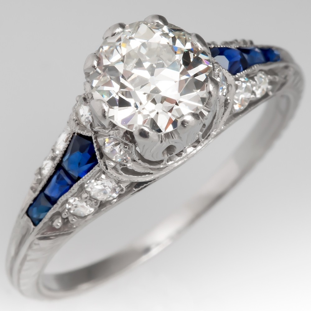 Antique 1920's Diamond Engagement Ring w/ Sapphire Platinum
