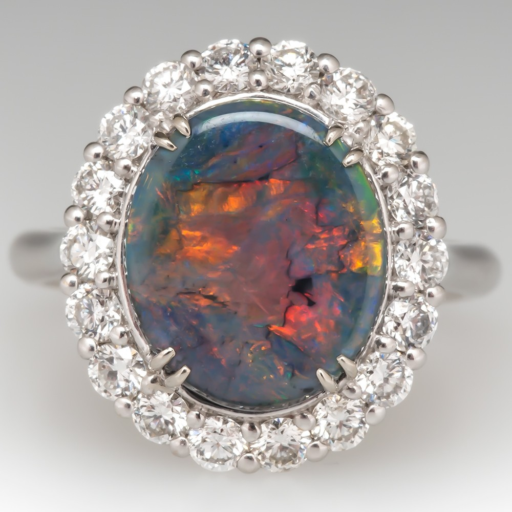 Vintage Large Opal Cocktail Ring Diamond Halo 18K