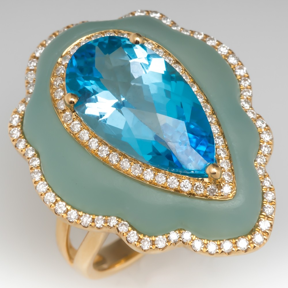 Blue Topaz Cocktail Ring w/ Diamonds on a Bed of Quartz 18K Gold