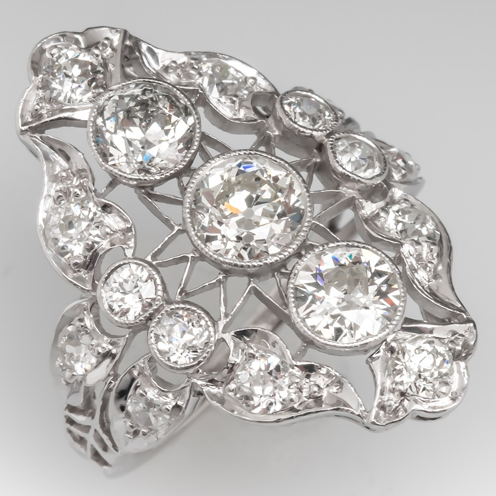 Circa 1910 Antique North South Diamond Cocktail Ring Platinum