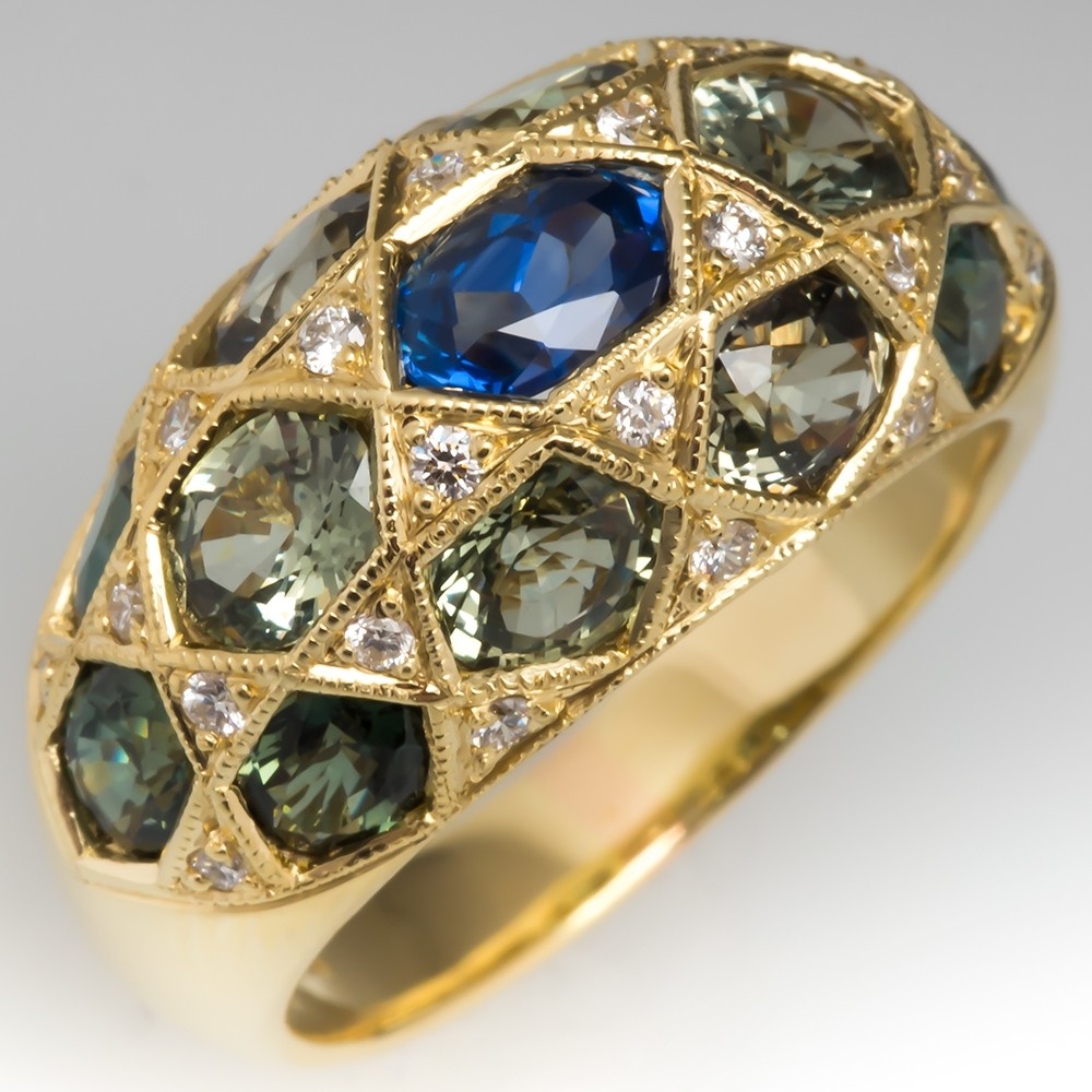 Blue & Green Sapphire Wide Band Ring w/ Diamonds 18K Gold