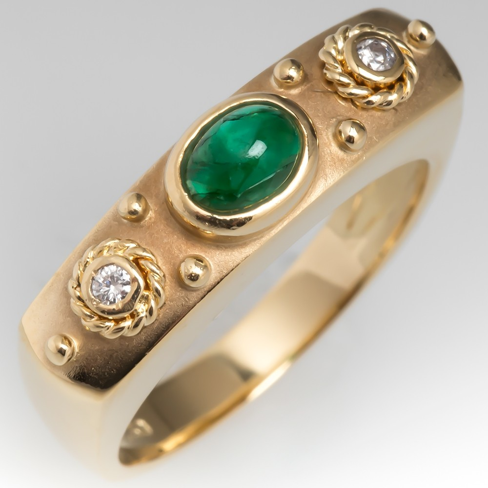Etruscan Style Emerald & Diamond Ring 18K Yellow Gold