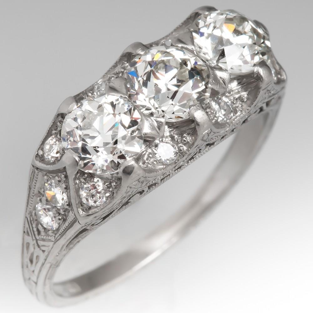 1930's Art Deco Filigree Diamond Ring Three Stone Platinum Engraved
