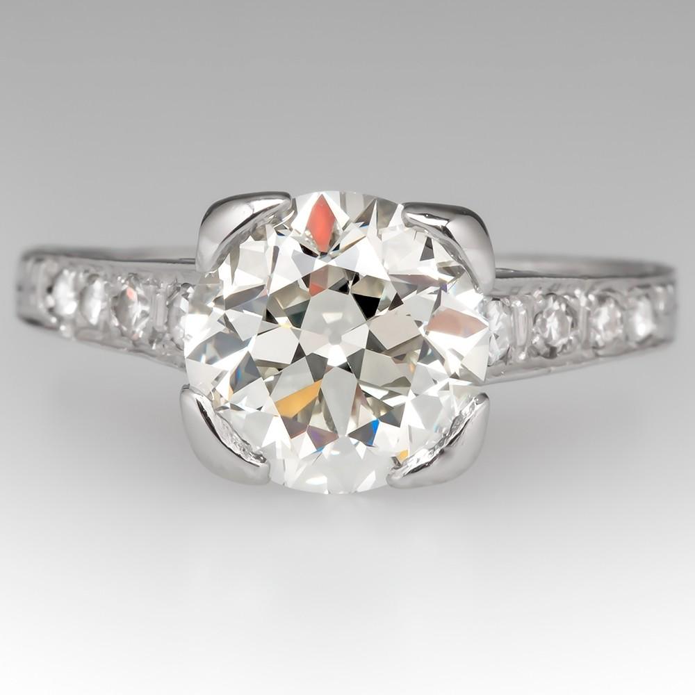 2 Carat Old European Cut Diamond 1930's Antique Engagement Ring
