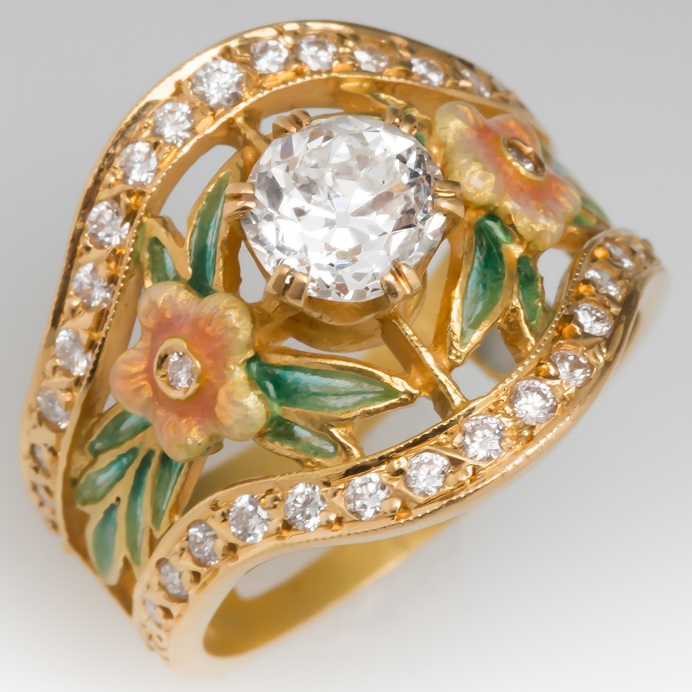 Masriera Old Euro Cut Diamond Flower Enamel Band Ring 18K Gold