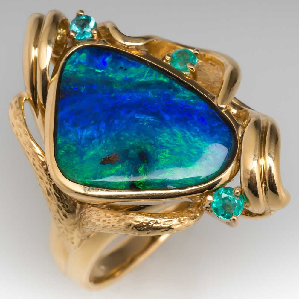 Free Form Boulder Opal & Tourmaline Cocktail Ring 18K Gold
