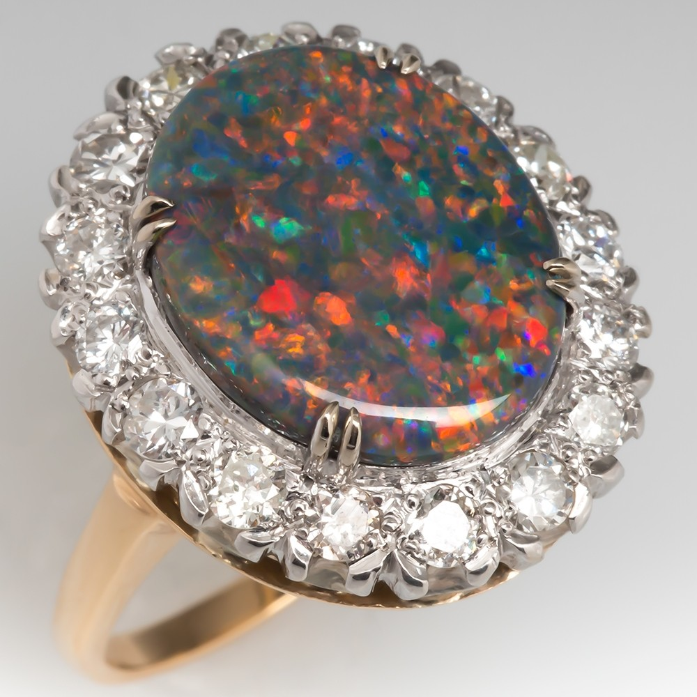 Natural Black Opal Cabochon & Diamond Cocktail Ring 14k Gold