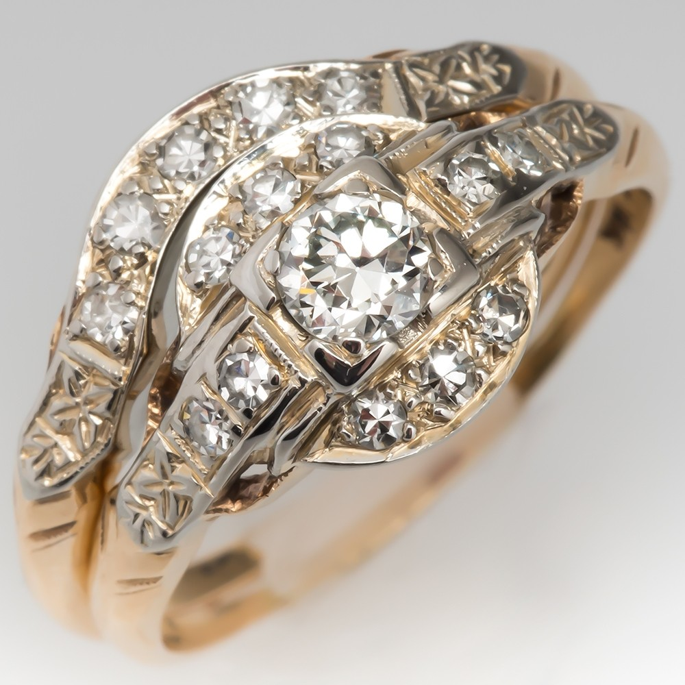 abe67081cb723 Beautiful Vintage Diamond Wedding Set 14K Yellow Gold