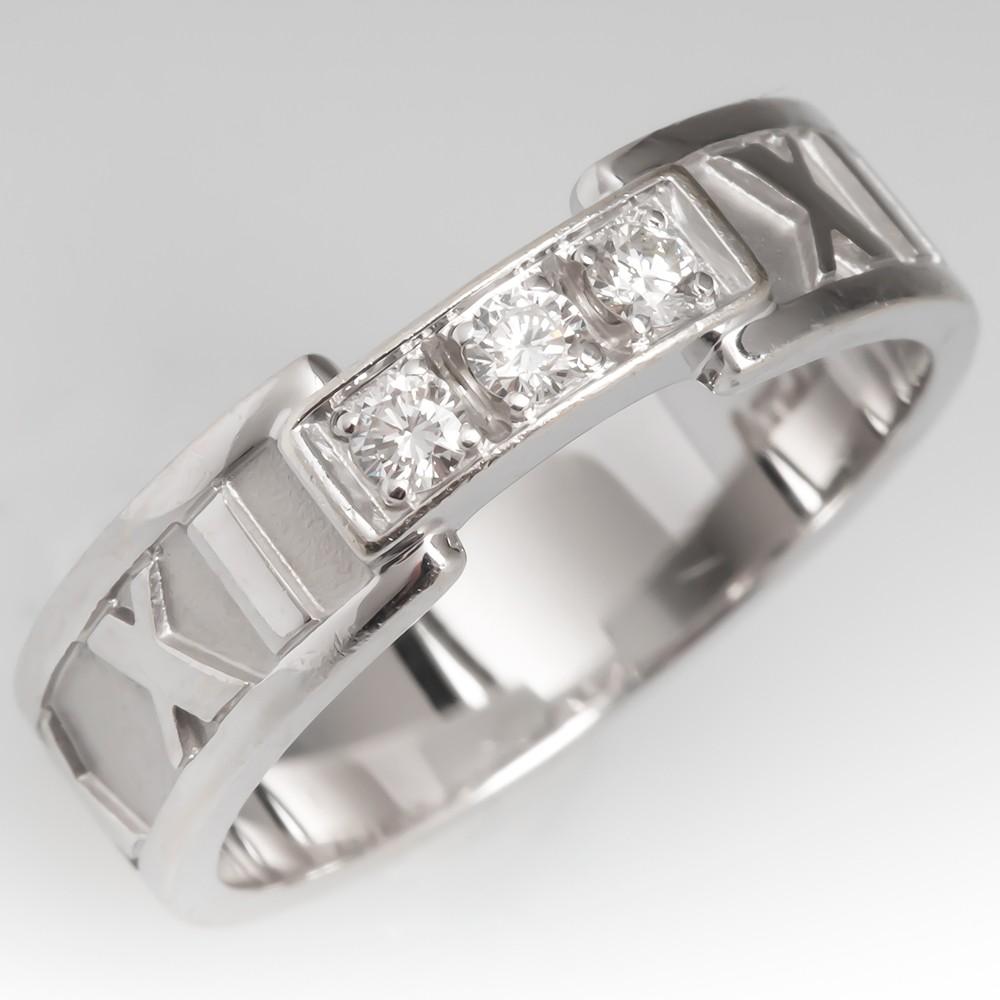 Tiffany & Co Atlas Ring 18K White Gold Three Diamonds, Size 6.5