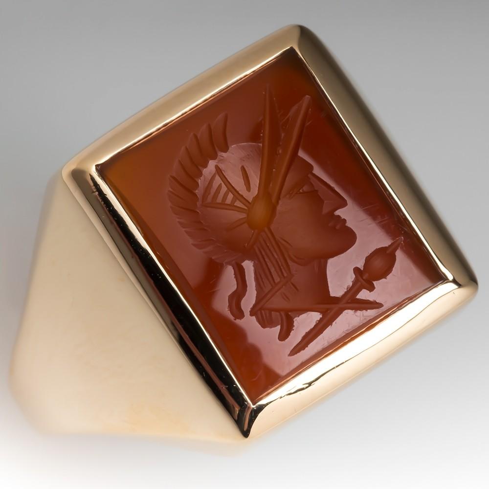 Vintage Mens Carnelian Intaglio Ring 14K Gold