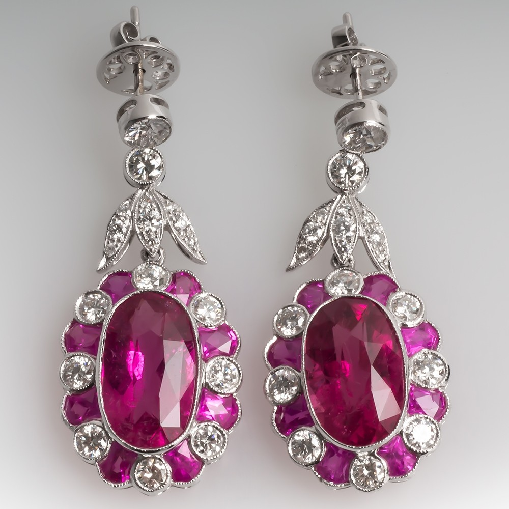 Pink Tourmaline Pink Sapphire and Diamond Earrings 18K White Gold