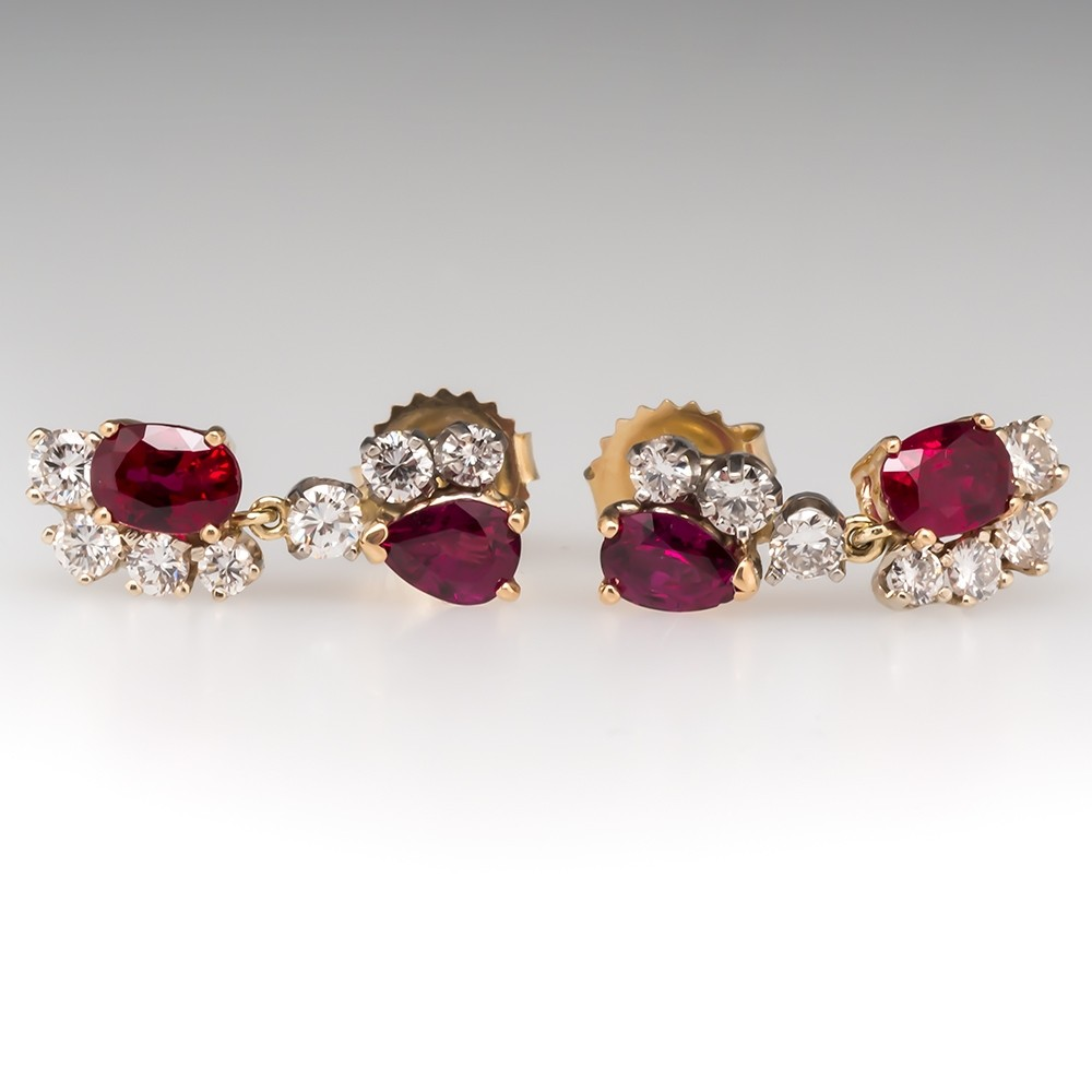 Beautiful Natural Ruby & Diamond Dangle Earrings 14K Gold