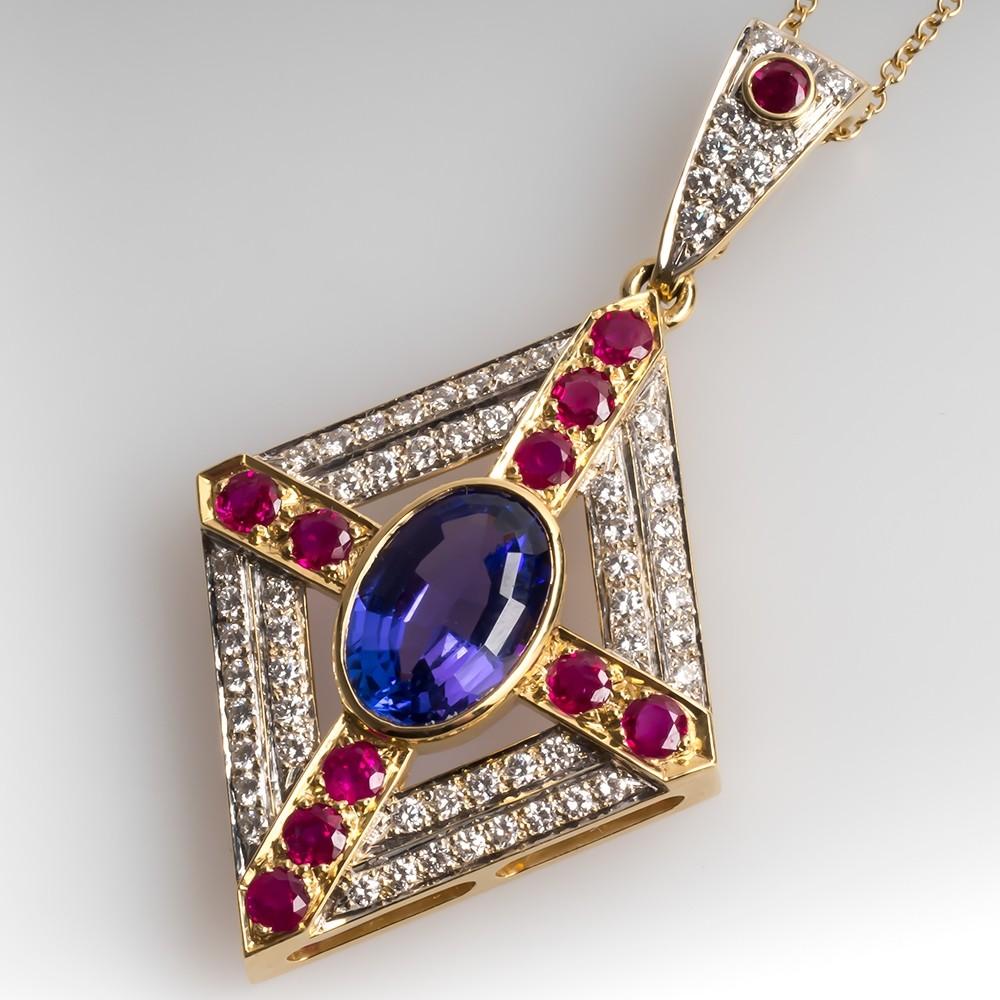 Stunning Tanzanite Ruby & Diamond Pendant Necklace 18K Yellow Gold
