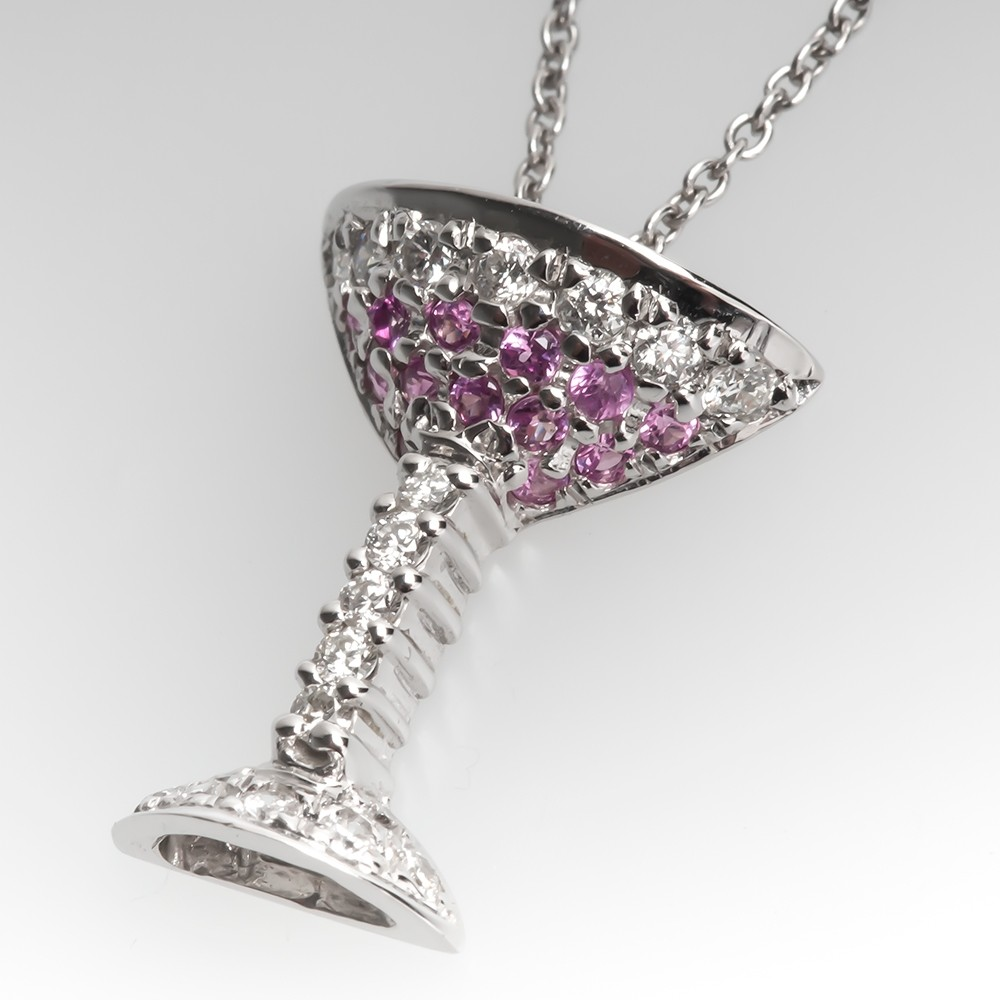 Roberto Coin Tiny Treasures Martini Pink Sapphire Diamond Necklace