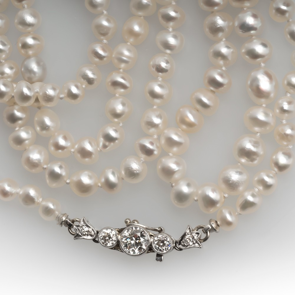 1920's Natural Pearl Strand Necklace w/ Old Euro Diamond Clasp