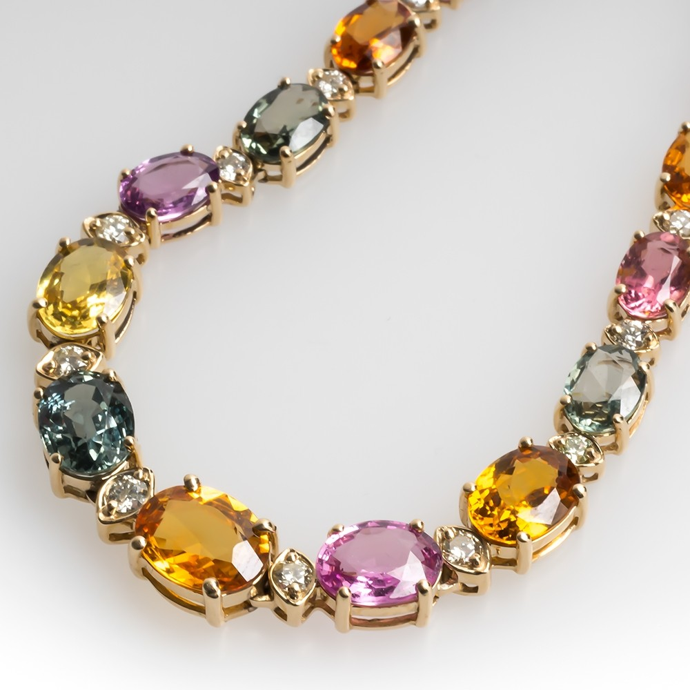 Natural Rainbow Sapphire & Diamond Necklace 14K Gold