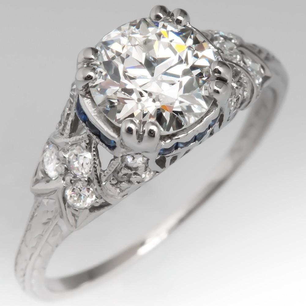 1920's Antique Diamond Engagement Ring w/ Sapphire Platinum