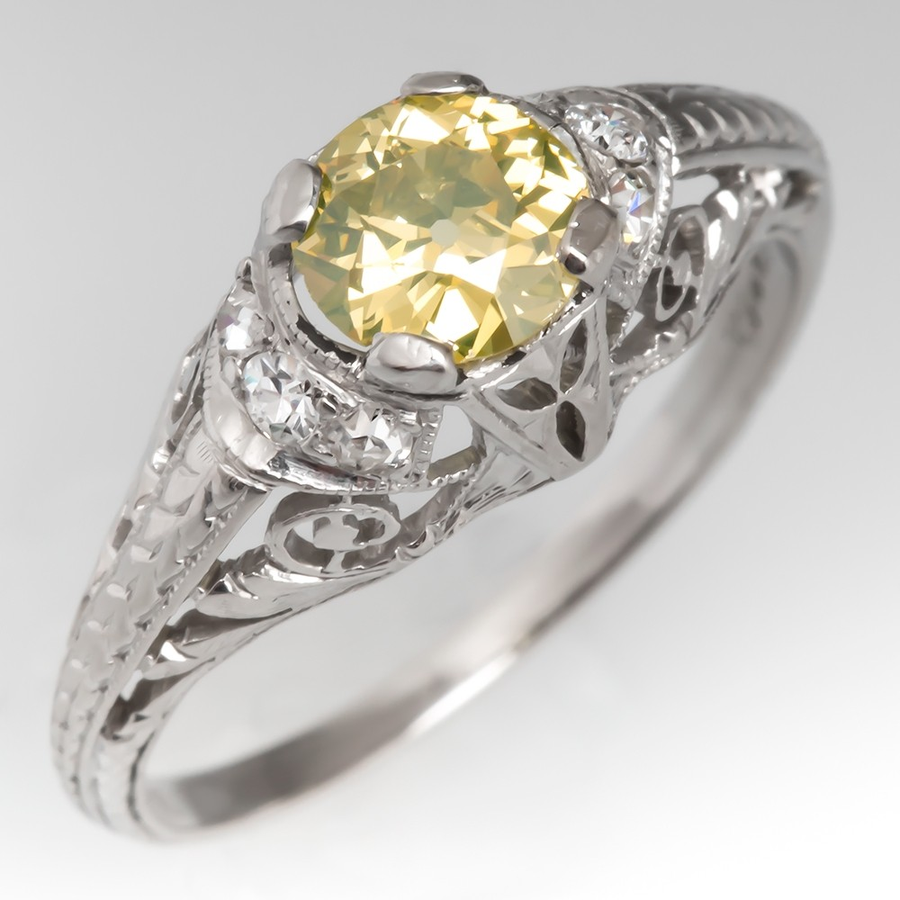1910 Fancy Intense Yellow Old Euro Diamond Engagement Ring Platinum GIA