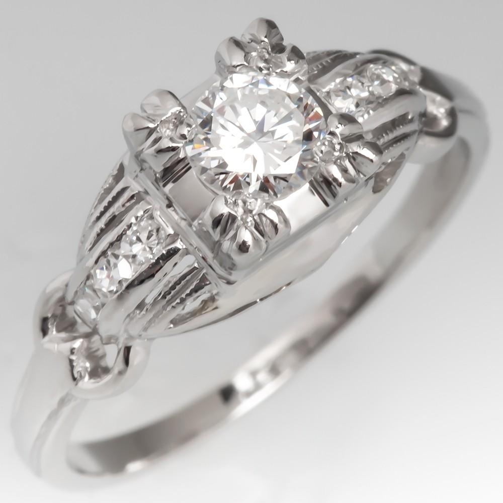 1950's Vintage Platinum Diamond Engagement Ring