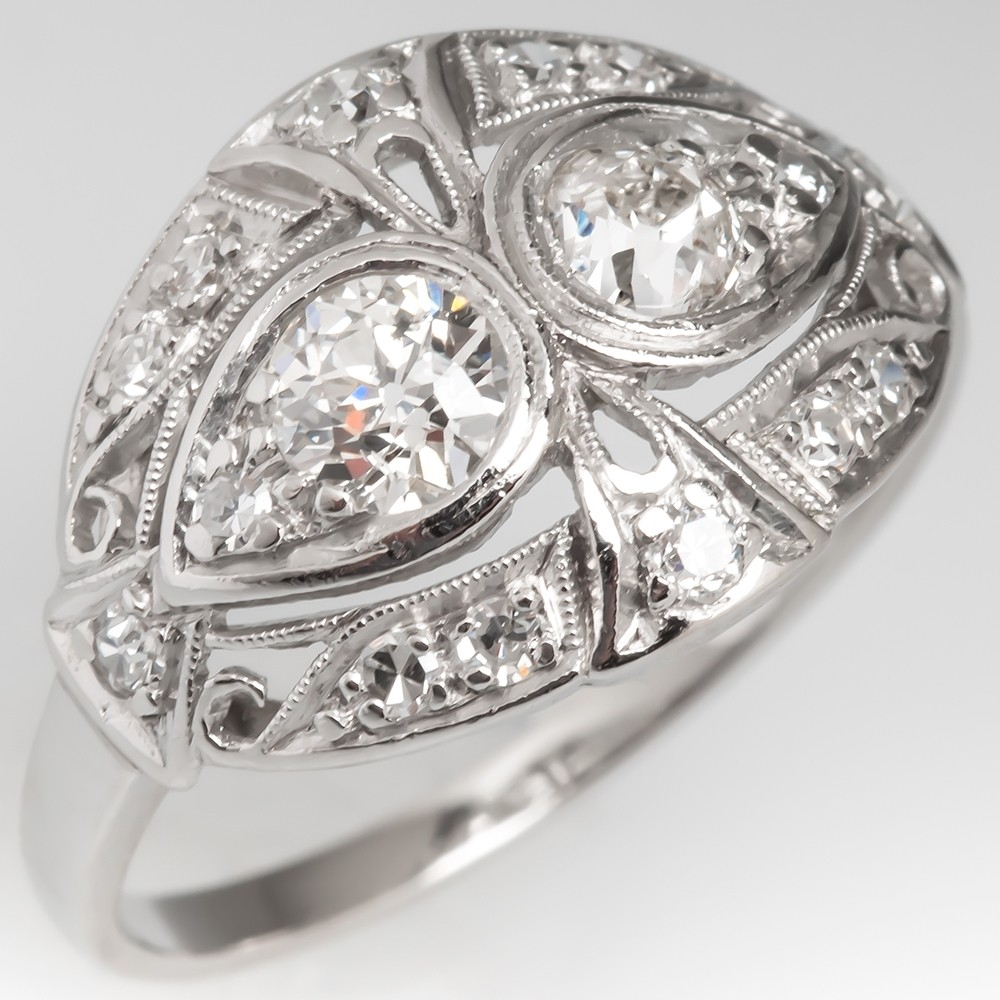 1920's Toi Et Moi Twin Diamond Ring Platinum