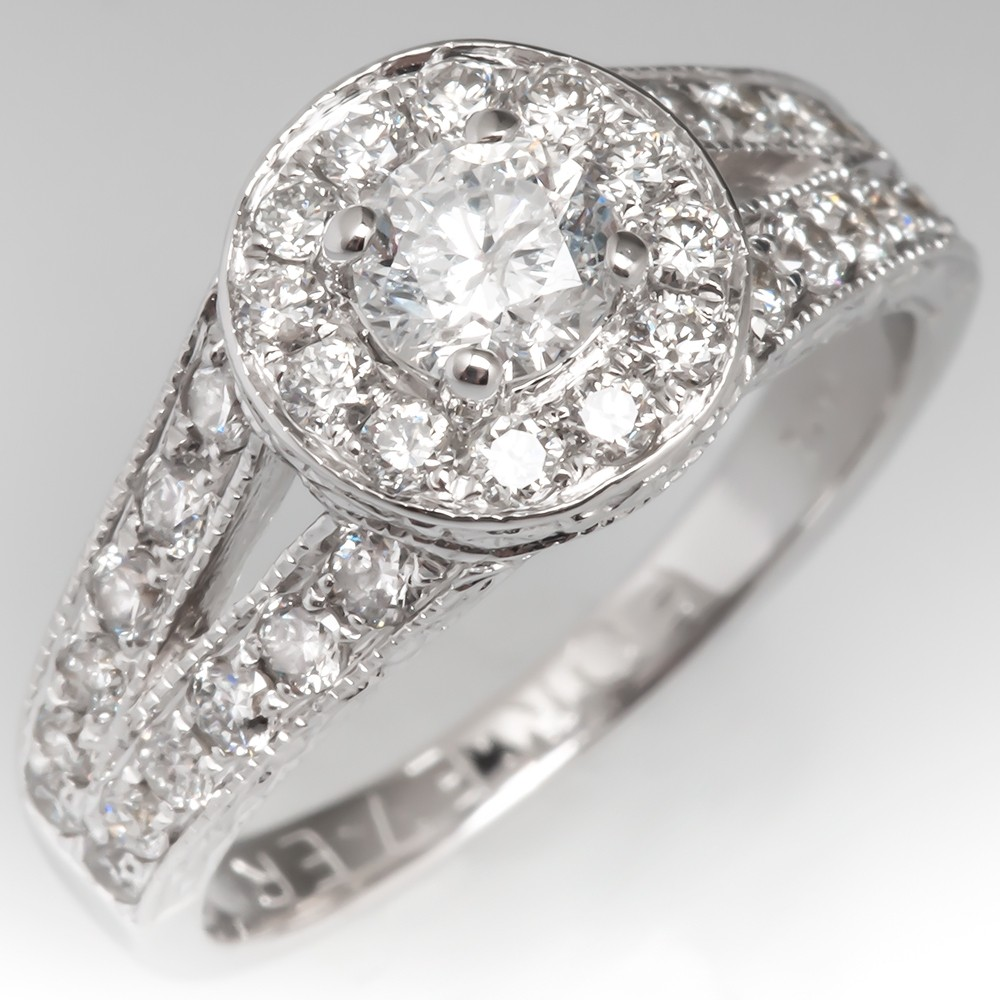 Estate Diamond Halo Engagement Ring 14K White Gold