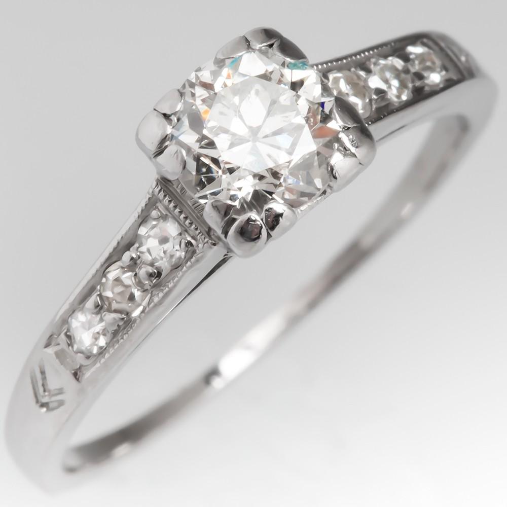 Vintage 1940's Platinum Diamond Engagement Ring