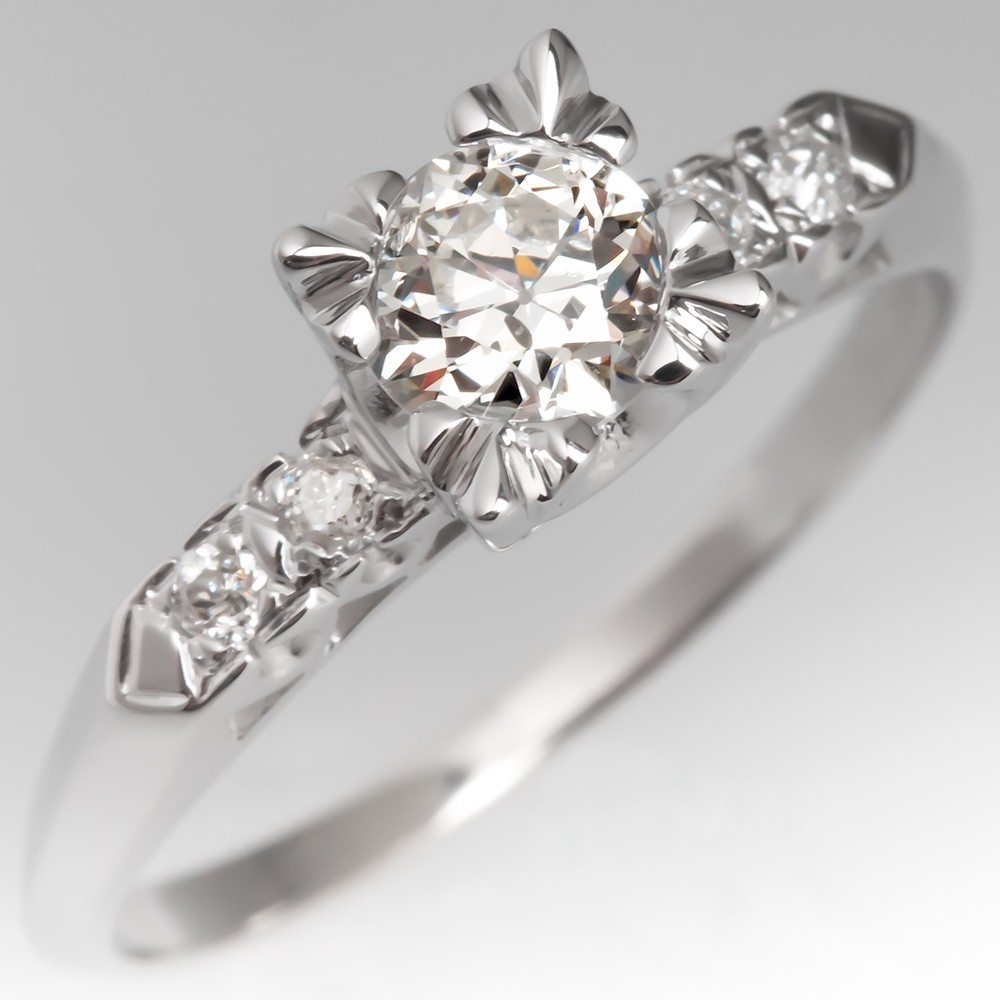 1940's Vintage Engagement Ring Transitional Cut Diamond 14K