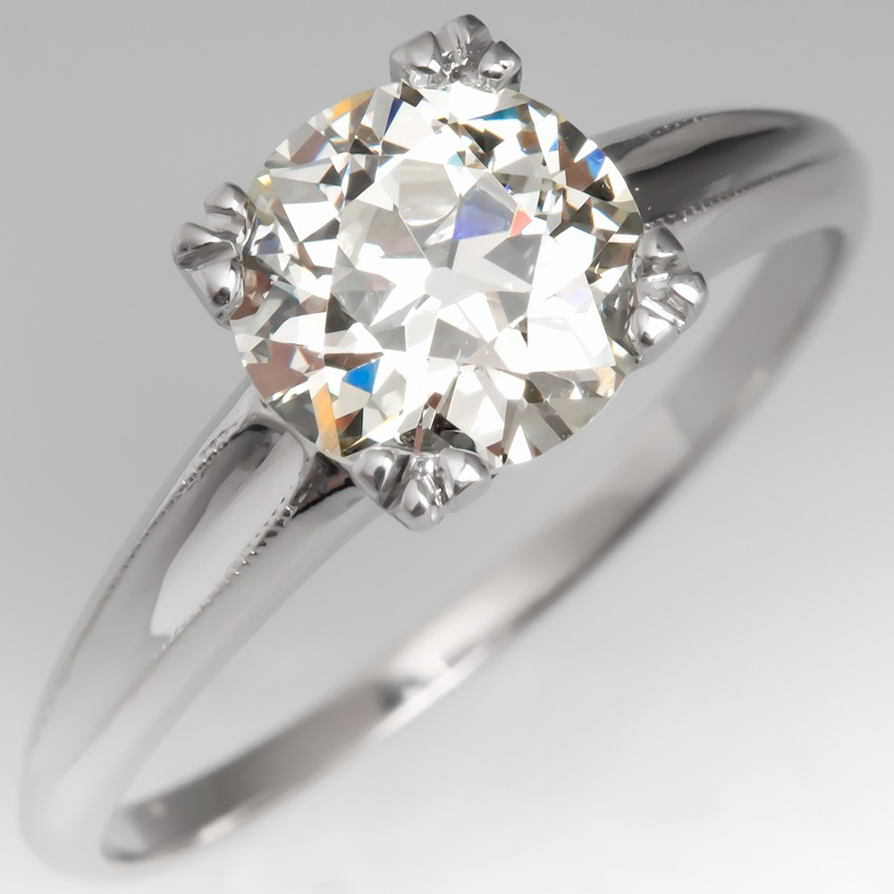 Old European Cut Diamond Solitaire Engagement Ring GIA 1.36CT N/VS1