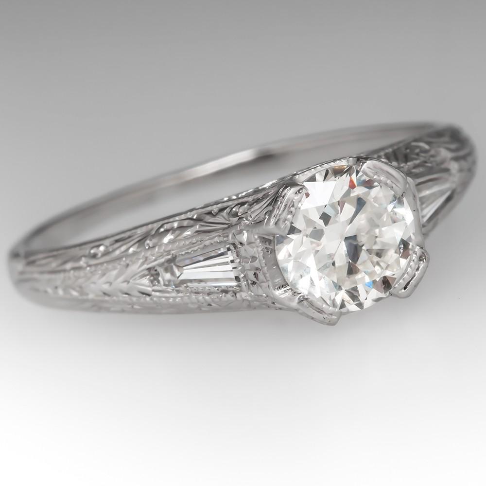 Stunning Diamond Filigree Vintage Engagement Ring Platinum Engraved