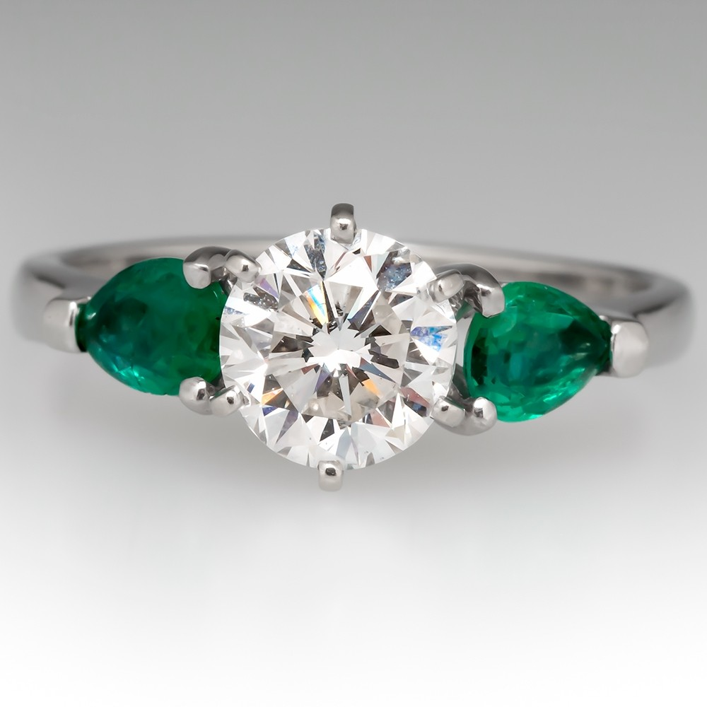1.38CT F/SI1 Round Brilliant Diamond Engagement Ring w/ Emerald Accents