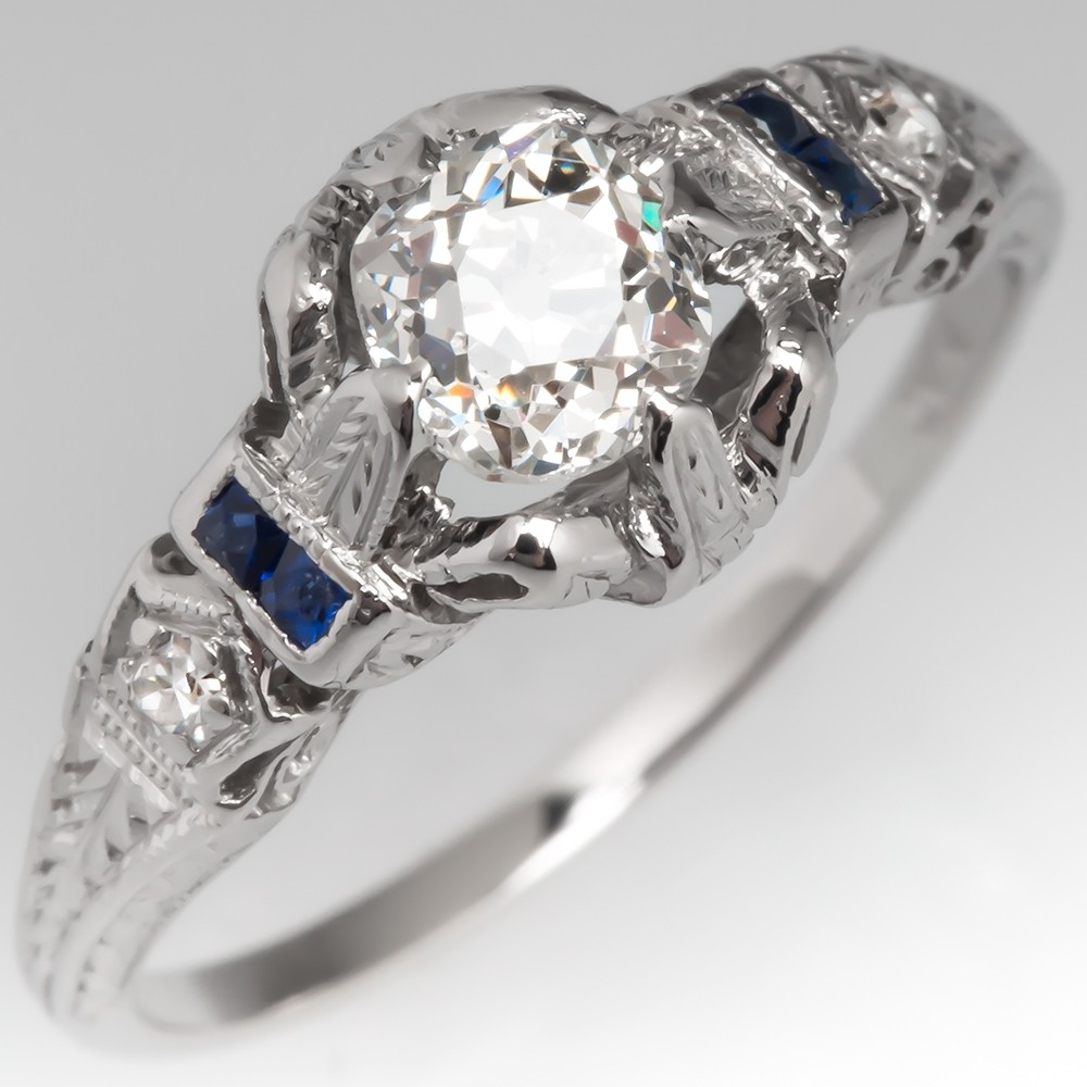Art Deco Engagement Ring Filigree w/ Sapphire Accents