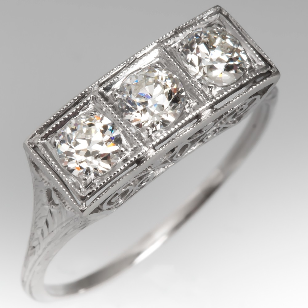 Antique Three Stone Diamond Filigree Ring Platinum Engraved