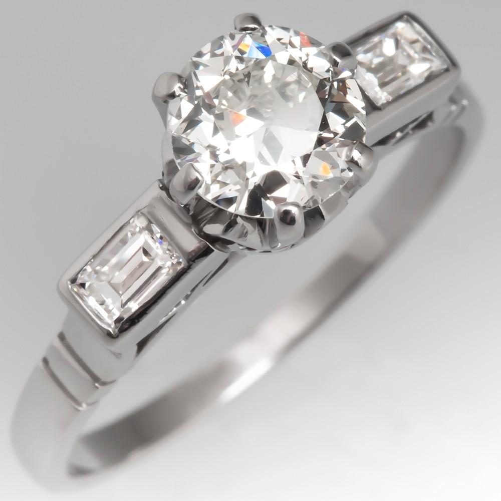 1920's Antique Engagement Ring Old Euro Diamond w/ Baguettes Platinum
