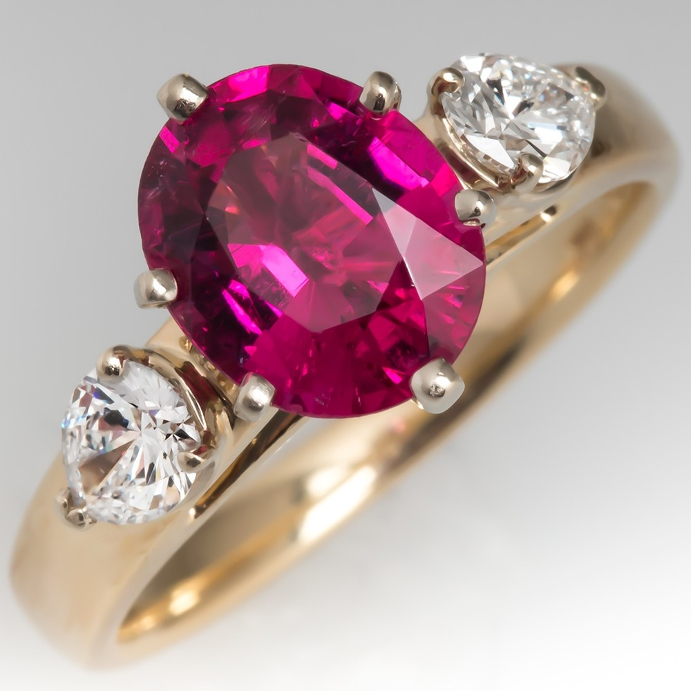 Beautiful Pink Tourmaline & Pear Cut Diamond Ring 14K Gold