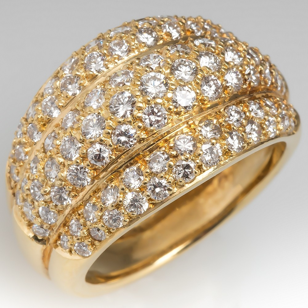 Stunning Wide Band Diamond Encrusted Ring 18K Yellow Gold