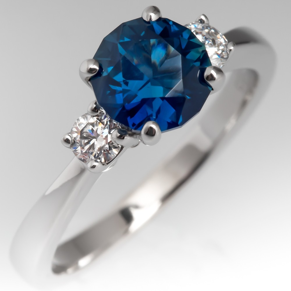 No Heat Bright Blue Green Sapphire Three Stone Engagement Ring 14K