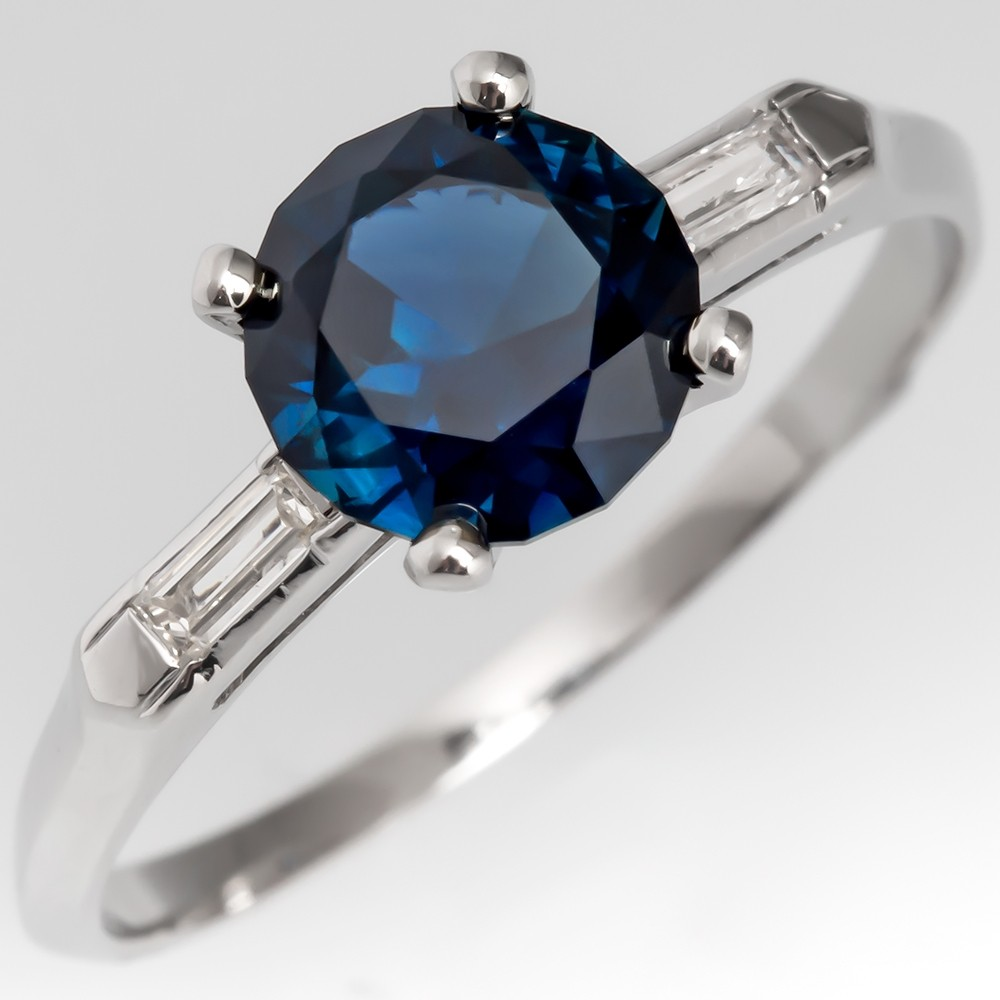 No Heat Dark Blue Sapphire Engagement Ring Vintage Platinum Mount