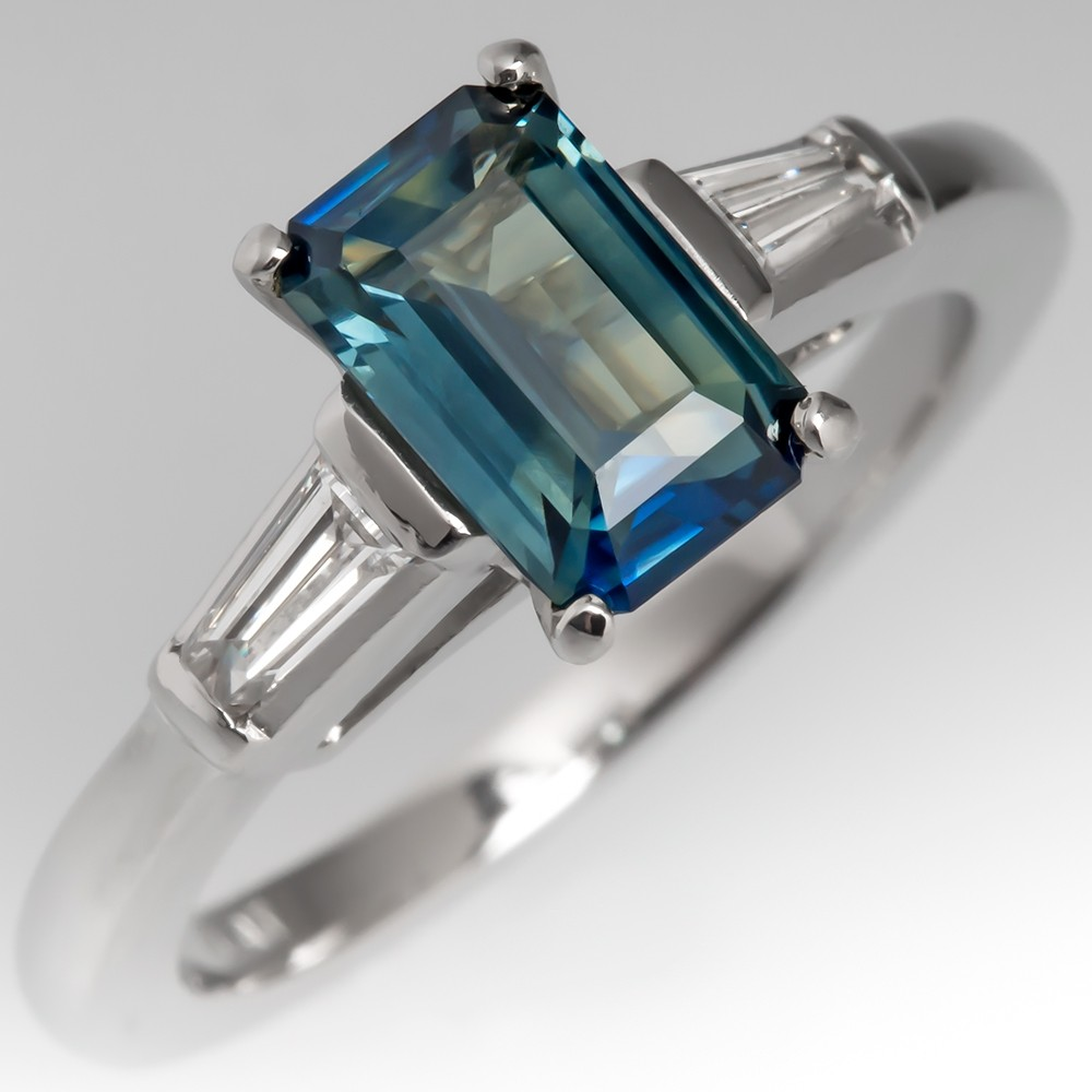 Bi-Color Blue Green Sapphire Engagement Ring Vintage Platinum Diamond Mounting