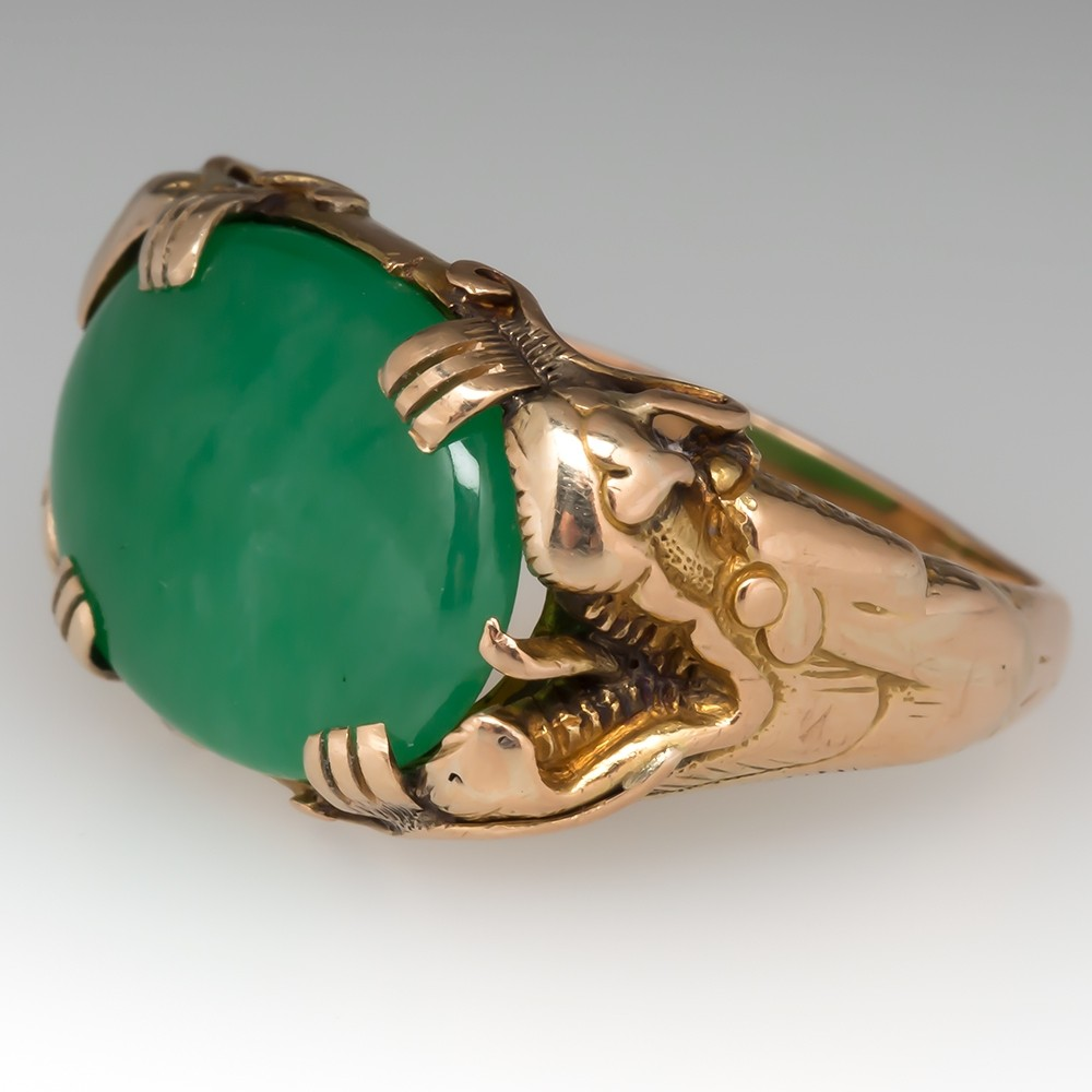 Vintage Grade A Untreated Jadeite Jade Dragon Ring 18K Gold