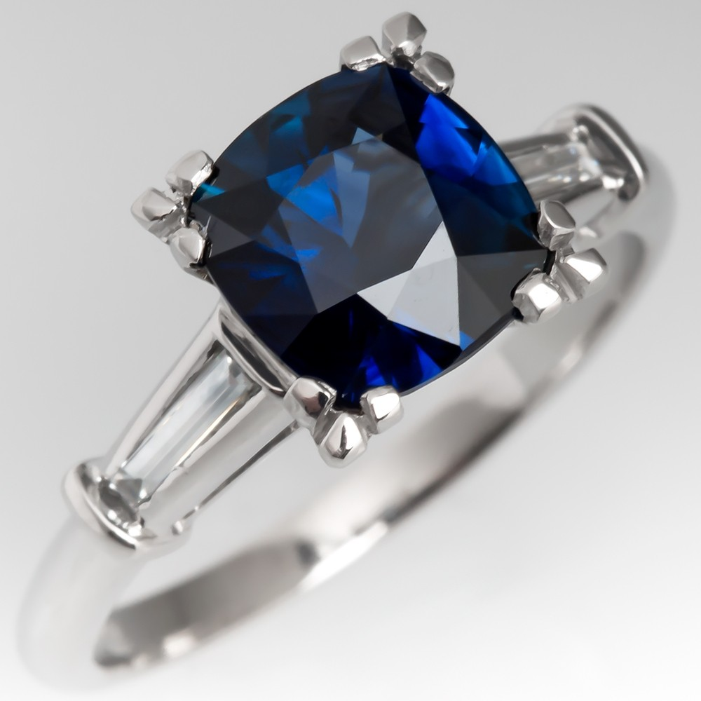 Tanya's Water for Sapphire Ring - Rich Blue Sapphire Engagement Ring Vintage Platinum Mounting
