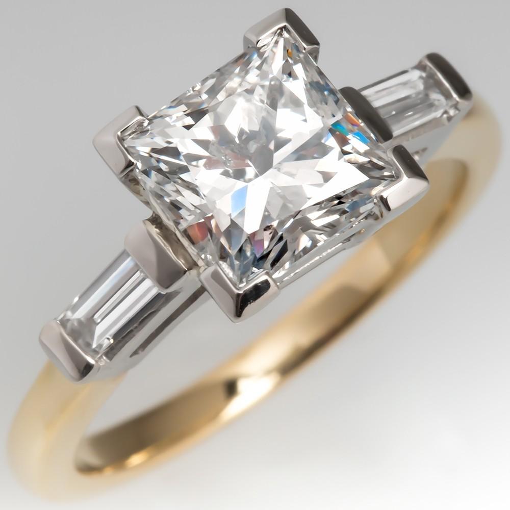 2 Carat Princess Cut Diamond Engagement Ring w/ Baguette Accents
