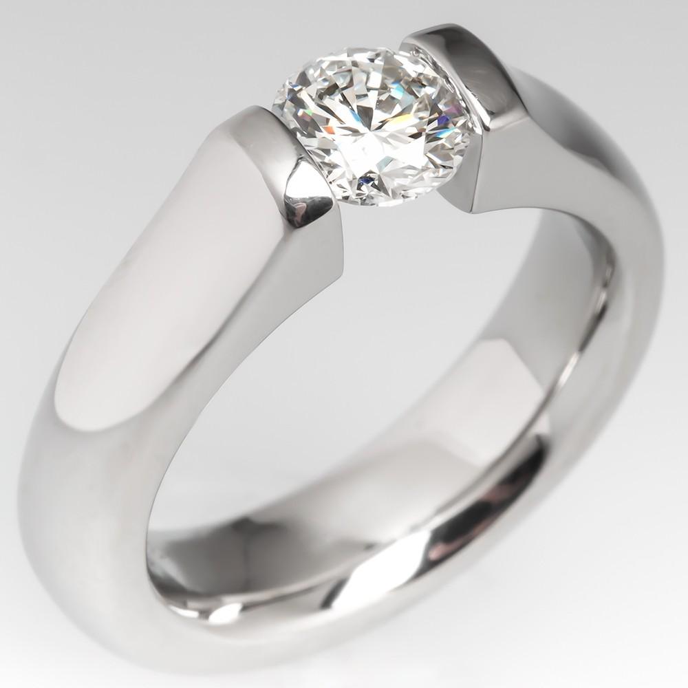 Modern Tension Set Diamond Solitaire Engagement Ring Platinum D/VS1