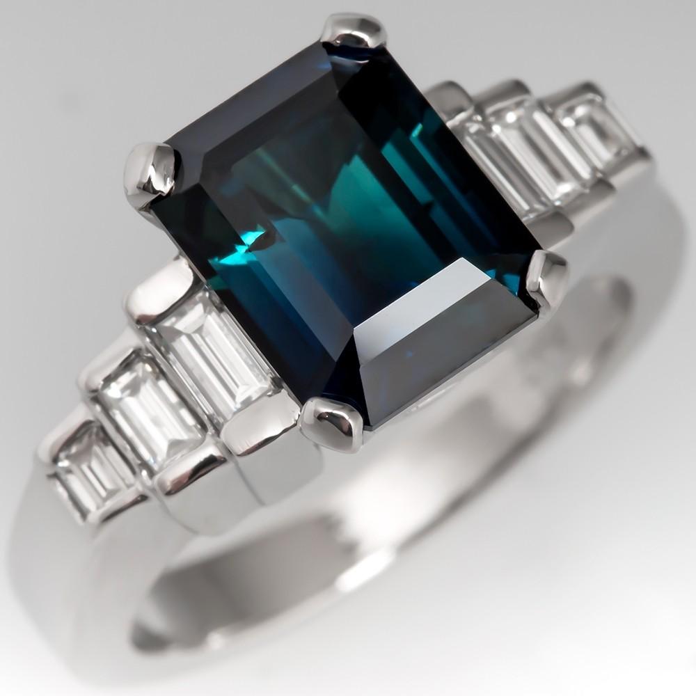 Dark Rich Blue-Green Sapphire Engagement Ring w/ Baguette Diamonds