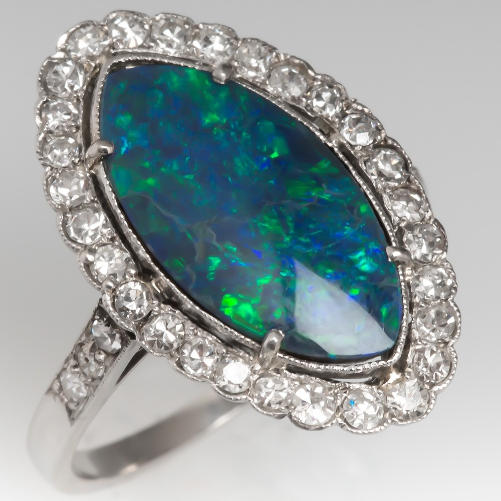 1920's Art Deco Black Opal & Diamond Ring Low Profile Platinum