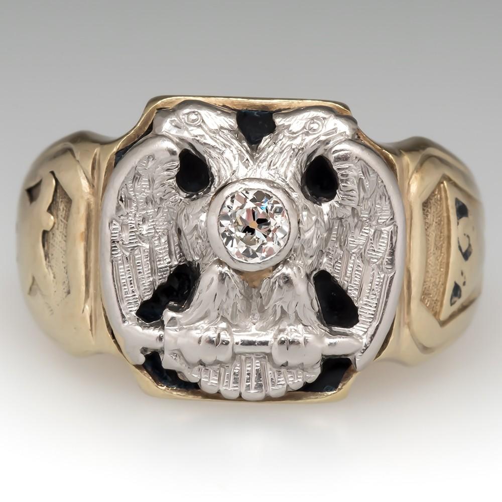 Old Masonic Mens Ring 14K Gold Antique 1930's
